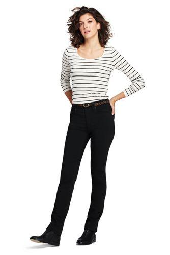 Le Jean Noir Stretch Droit Taille Mi-Haute, Femme Stature Petite