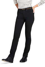 Women's Tall Mid Rise Straight Leg Black Jeans
