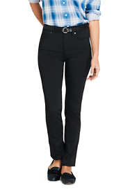 Women's Mid Rise Straight Leg Twill Jeans - Black