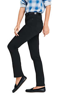 Women's Petite Mid Rise Straight Leg Twill Jeans - Black, alternative image