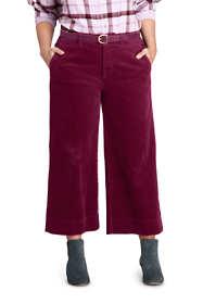 Women's Plus Size Wide Wale Corduroy Crop Pants