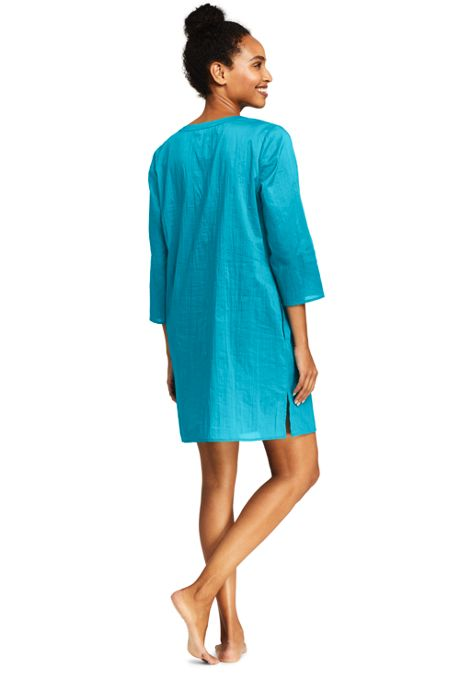 Women's Cotton Lattice Tunic Swim Cover-up