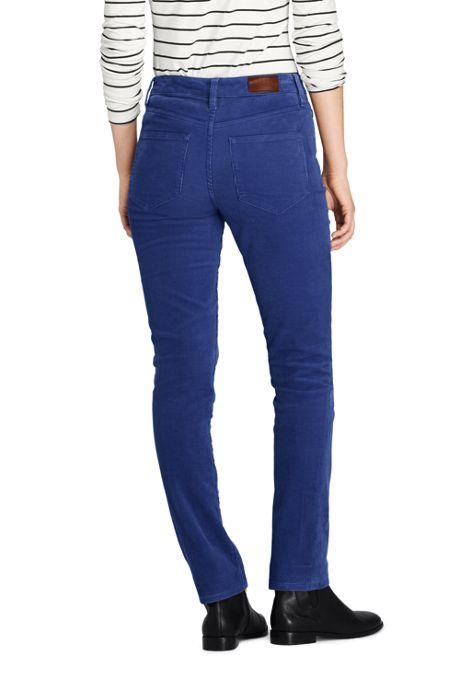 Women's Petite Mid Rise Straight Leg Corduroy Pants