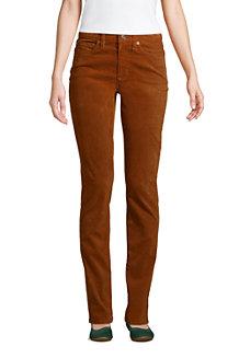Le Pantalon Droit en Velours Côtelé Stretch Taille Mi-Haute, Femme