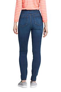 Women's Tall Curvy Elastic Waist High Rise Pull On Skinny Legging Blue Jeans, Back