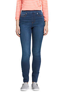 Women's Tall Curvy Elastic Waist High Rise Pull On Skinny Legging Blue Jeans, Front
