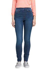 Women's Curvy Elastic Waist High Rise Pull On Skinny Legging Jeans - Blue
