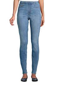 Women's Petite Curvy Elastic Waist High Rise Pull On Skinny Legging Blue Jeans