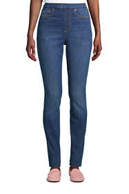 Women's Curvy Elastic Waist High Rise Pull On Skinny Legging Blue Jeans