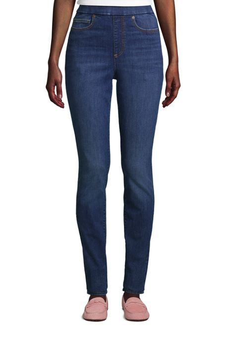 Women's Petite Curvy Elastic Waist High Rise Pull On Skinny Legging Blue Jeans