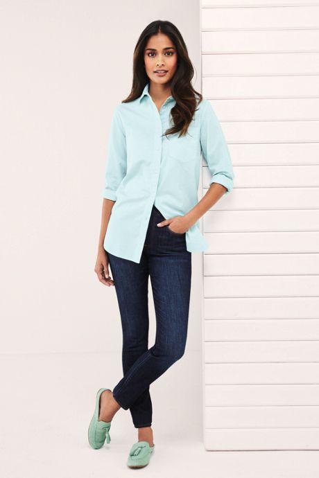 Women's Petite Pull On Skinny Blue Jeans