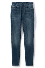 Women's Plus Size Elastic Waist Pull On Skinny Legging Jeans - Blue