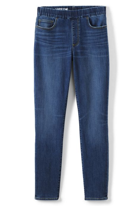 Women's Plus Size Mid Rise Pull On Skinny Blue Jeans