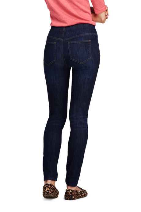 Women's Tall Elastic Waist Pull On Skinny Legging Jeans - Blue