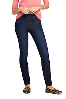 Women's Tall Elastic Waist Pull On Skinny Legging Jeans - Blue, Front