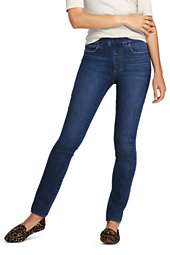 Lands' End Women's Pull-on Skinny Blue Jeans