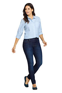 Women's Petite Elastic Waist Pull On Skinny Legging Jeans - Blue, Unknown