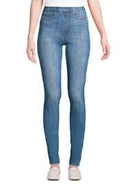 Women's Petite Elastic Waist Pull On Skinny Legging Jeans - Blue