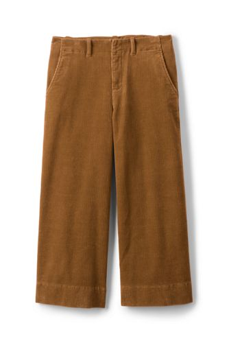 Women's Mid Rise Cord Cropped Wide Trousers