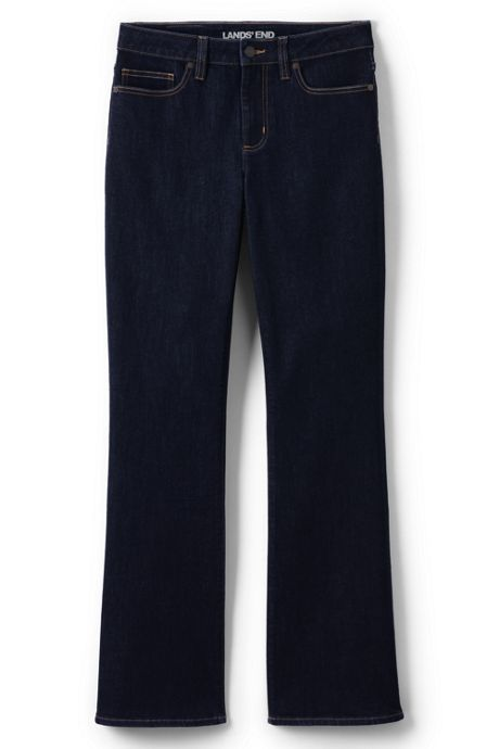 Women's Petite Mid Rise Boot Cut Blue Jeans