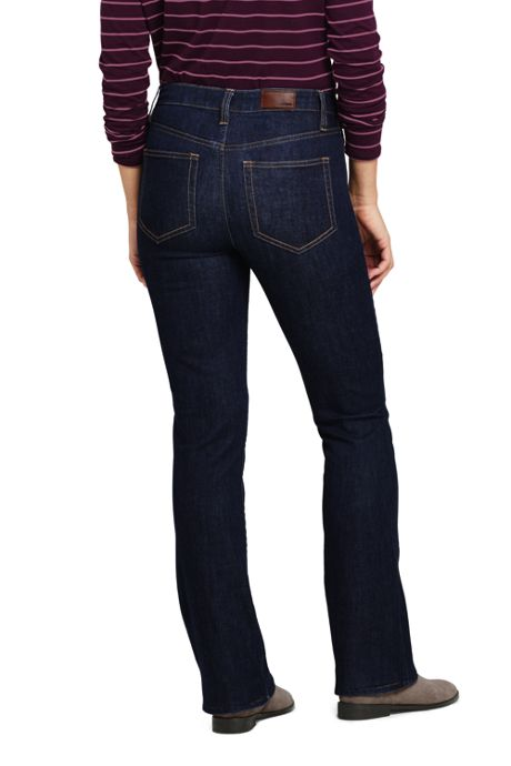 Women's Petite Mid Rise Boot Cut Jeans - Blue