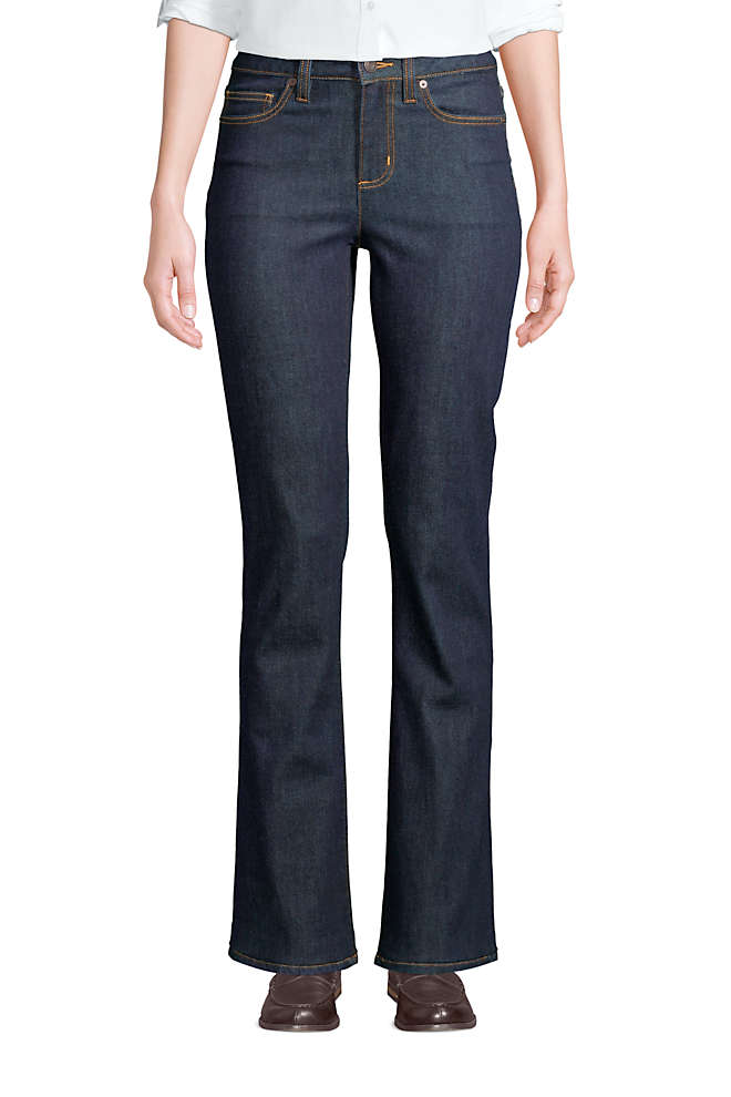 Women's Mid Rise Bootcut Blue Jeans , Front