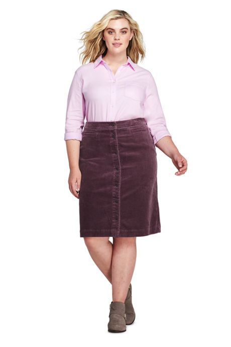 Women's Plus Size Woven Corduroy Skirt