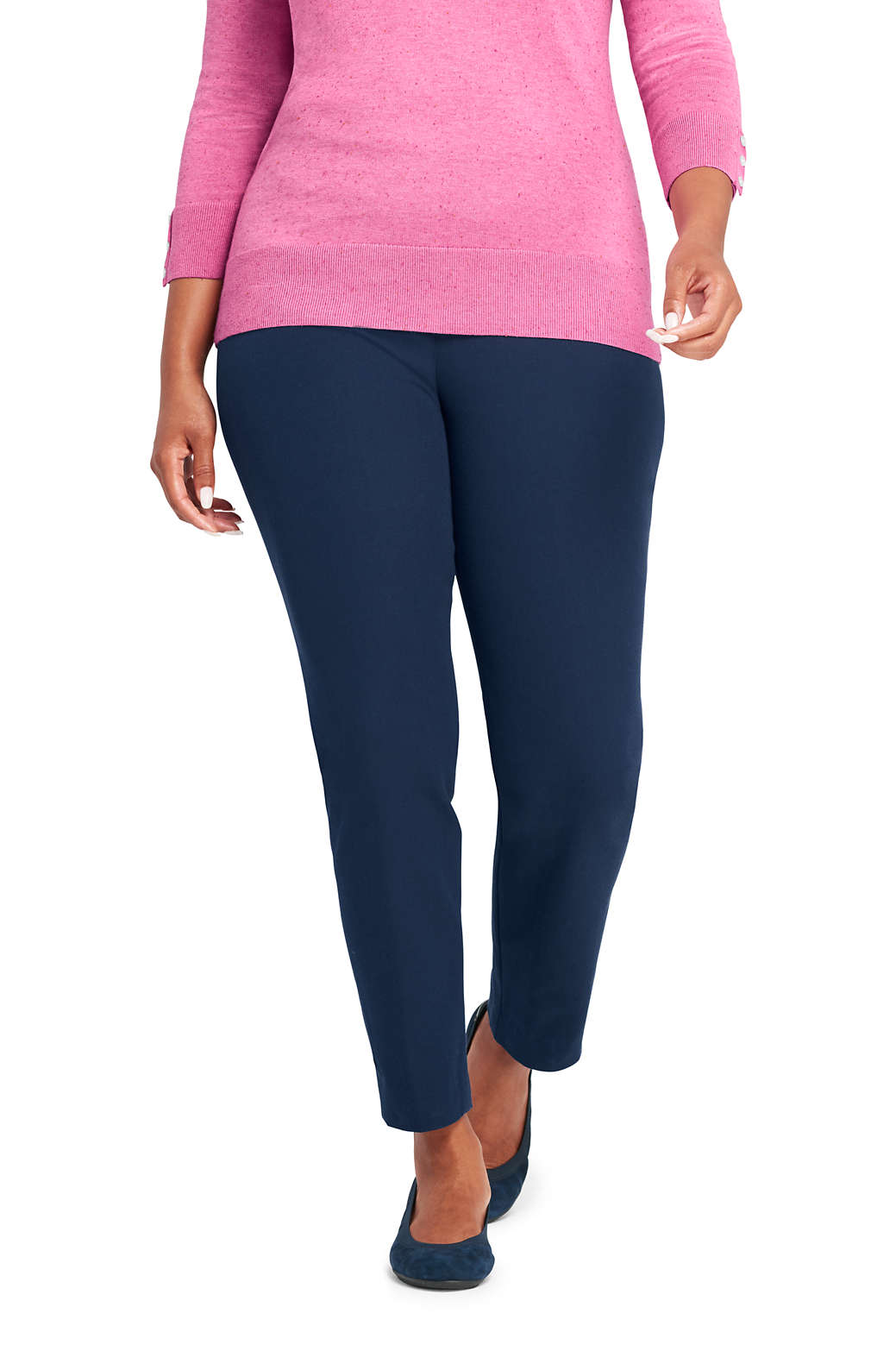 ae81a5ff93d Women s Plus Size Mid Rise Bi-Stretch Pull-on Ankle Pants from Lands ...