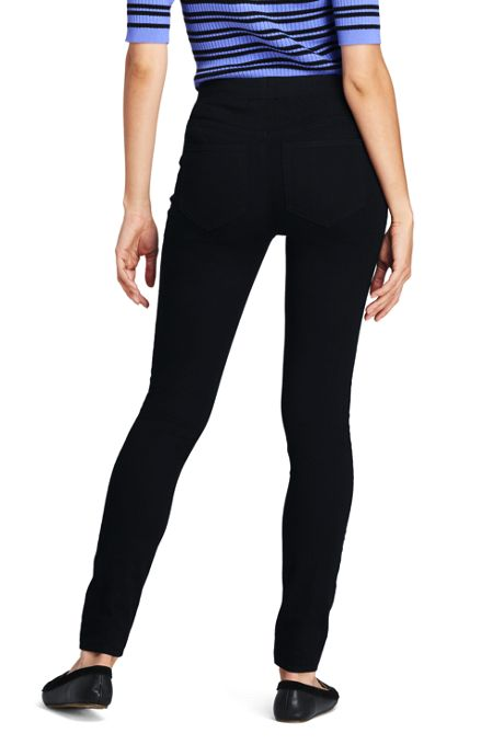 Women's Mid Rise Pull On Skinny Black Jeans