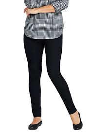 Women's Elastic Waist Pull On Skinny Legging Twill Jeans - Black