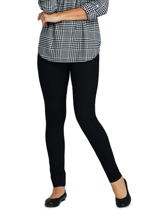 Women's Petite Elastic Waist Pull On Skinny Legging Twill Jeans - Black