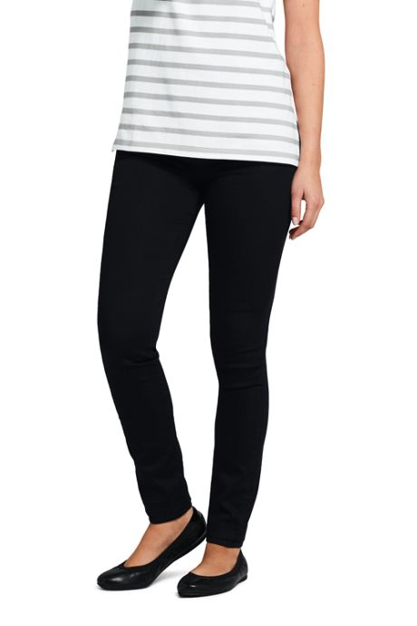 Women's Petite Mid Rise Pull On Skinny Black Jeans