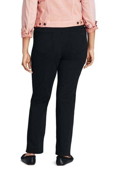 Women's Plus Size Mid Rise Straight Leg Black Jeans