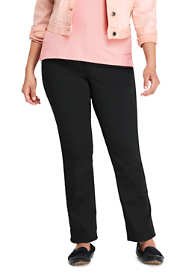 Women's Plus Size Mid Rise Straight Leg Twill Jeans - Black