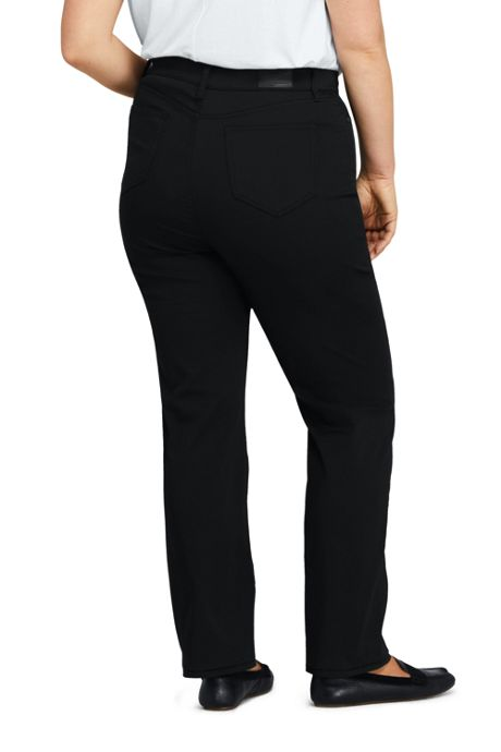 Women's Plus Size High Rise Straight Leg Black Jeans