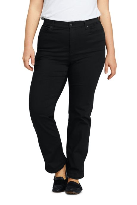 Women's Plus Size High Rise Straight Leg Twill Jeans - Black