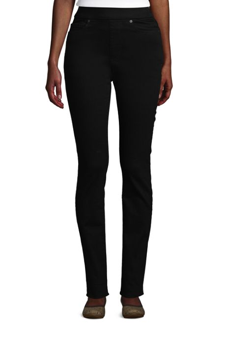 Women's Petite Curvy Elastic Waist High Rise Pull On Skinny Legging Jeans - Black