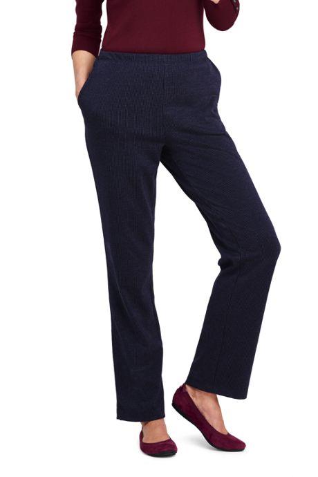 Women's Petite Sport Knit Elastic Waist Pants High Rise