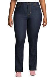 Women's Plus Size Mid Rise Straight Leg Jeans - Blue