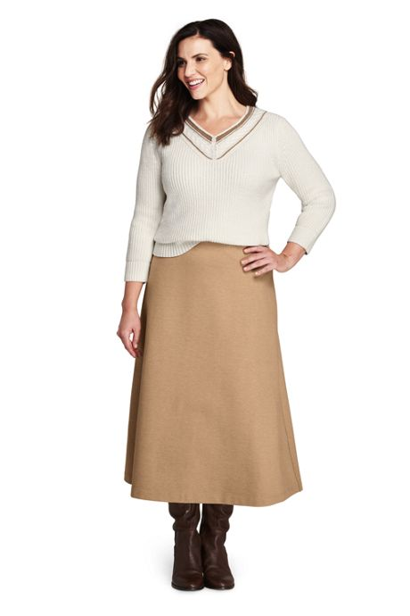Women\'s Plus Size Ponte Knit Boot Midi Skirt, Bottoms, Clothing ...
