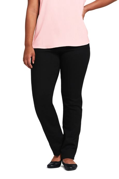Women's Plus Size Mid Rise Pull-on Straight Jeans