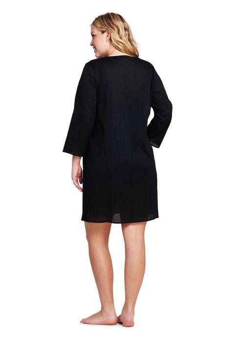 Women's Plus Size Cotton Lattice Tunic Swim Cover-up
