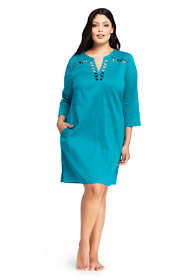 Women's Plus Size Cotton Lattice Tunic Swim Cover-up