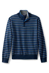 Men's Striped Cotton Cashmere Button Mock Sweater