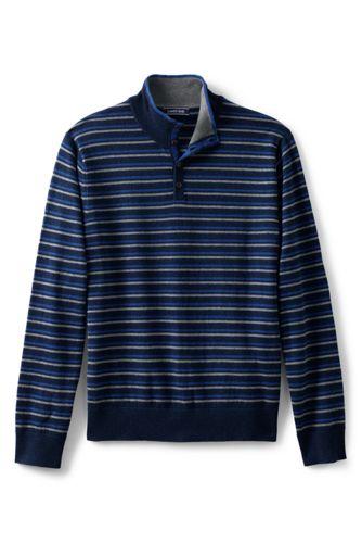 Men's Striped Cotton/cashmere Polo Neck Jumper