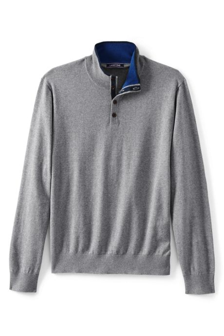 Men's Cotton Cashmere Button Mock Sweater