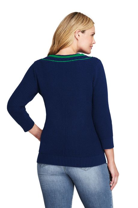 Women's Plus Size Lofty Blend 3/4 Sleeve V-neck Sweater