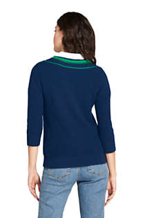 Women's Lofty Blend 3/4 Sleeve V-neck Sweater, Back