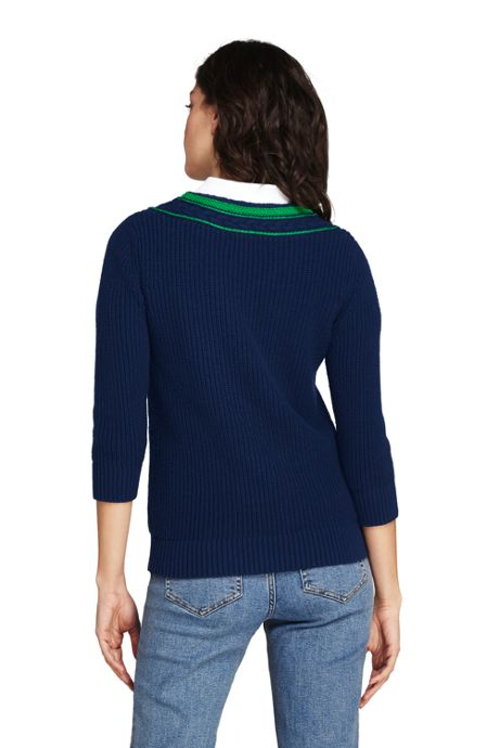 Women's Petite Lofty Blend 3/4 Sleeve V-neck Sweater
