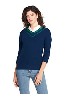 Women's Lofty Blend 3/4 Sleeve V-neck Sweater, Front
